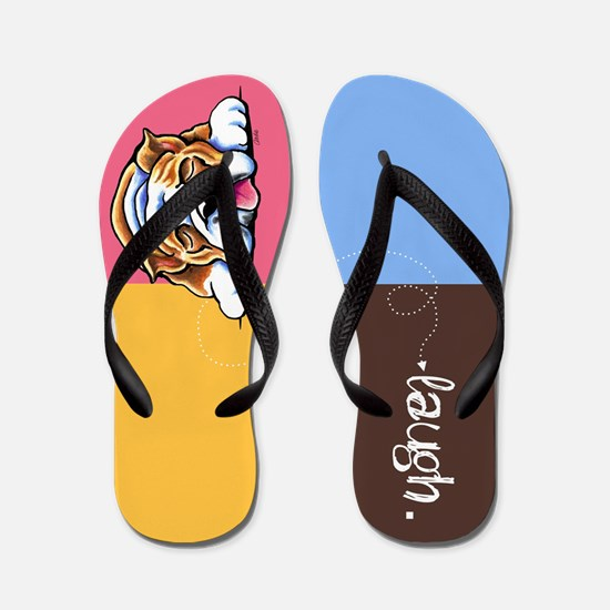 English Bulldog Laugh Flip Flops