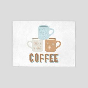 Coffee Cups 5'x7'Area Rug
