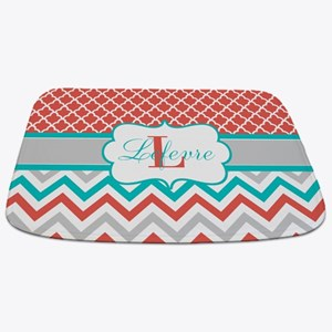 Coral Teal Chevron Quatrefoil Personalized Bathmat