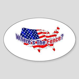 Where's The Fence - USA Oval Sticker
