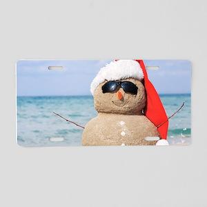 Beach Snowman Aluminum License Plate