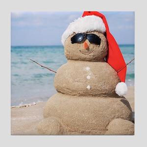 Beach Snowman Tile Coaster