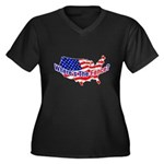 Where's The Fence - USA Women's Plus Size V-Neck D