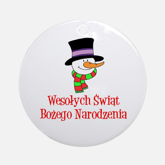 Polish Snowman Wesolych Swiat Ornament (round)