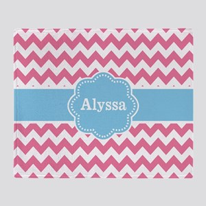 Pink Blue Chevron Personalized Throw Blanket