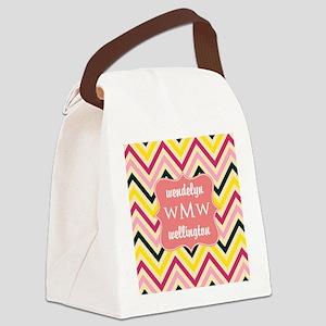 Pink Coral Chevron Pattern Monogr Canvas Lunch Bag