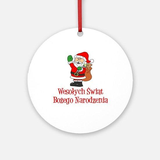 Polish Santa Wesolych Swiat Ornament (round)