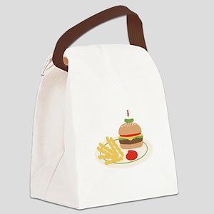 Dinner Hamburger Fries Canvas Lunch Bag