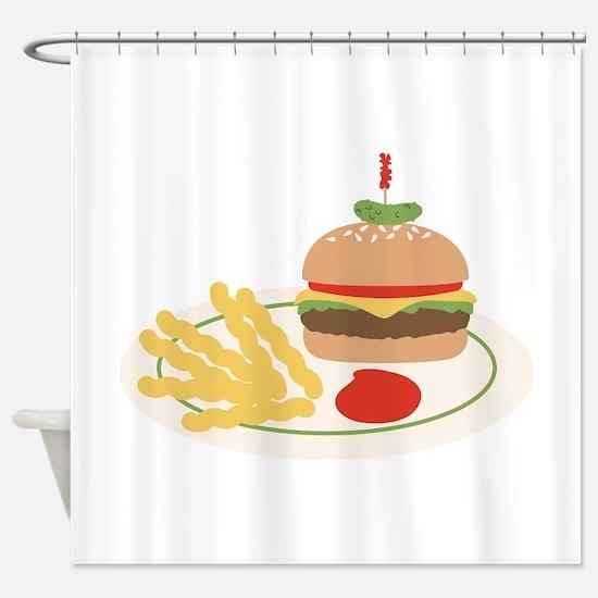 Dinner Hamburger Fries Shower Curtain