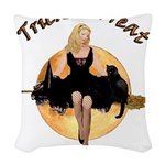 Trick Or Treat2 copy Woven Throw Pillow