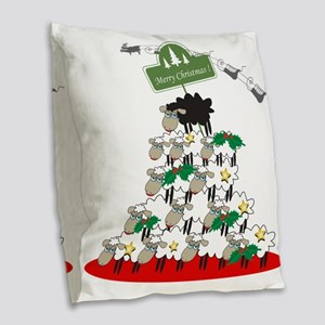 Funny Sheep Christmas Tree Burlap Throw Pillow