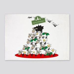 Funny Sheep Christmas Tree 5'x7'Area Rug