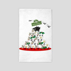 Funny Sheep Christmas Tree 3'x5' Area Rug