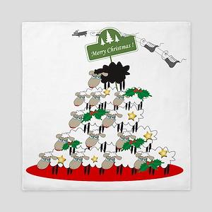 Funny Sheep Christmas Tree Queen Duvet