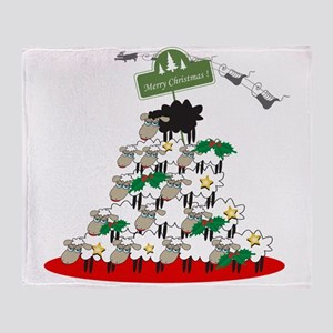 Funny Sheep Christmas Tree Throw Blanket