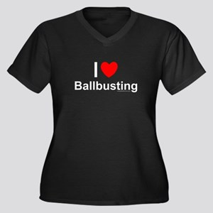 Ballbusting Women's Plus Size V-Neck Dark T-Shirt