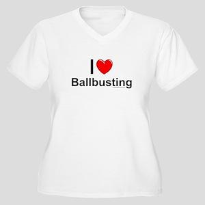 Ballbusting Women's Plus Size V-Neck T-Shirt