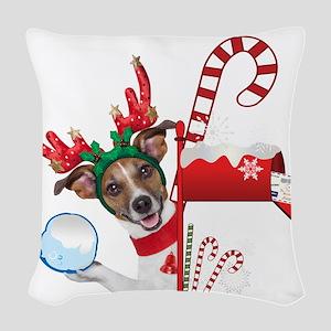Christmas Funny Dog with Snowball Woven Throw Pill