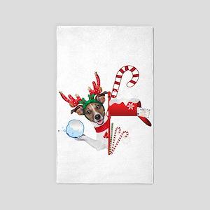 Christmas Funny Dog with Snowball 3'x5' Area Rug