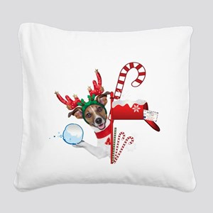 Christmas Funny Dog with Snowball Square Canvas Pi