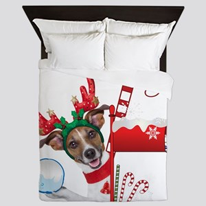 Christmas Funny Dog with Snowball Queen Duvet