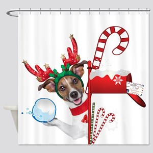 Christmas Funny Dog with Snowball Shower Curtain