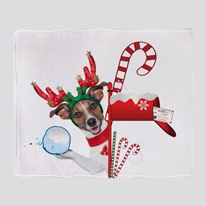 Christmas Funny Dog with Snowball Throw Blanket