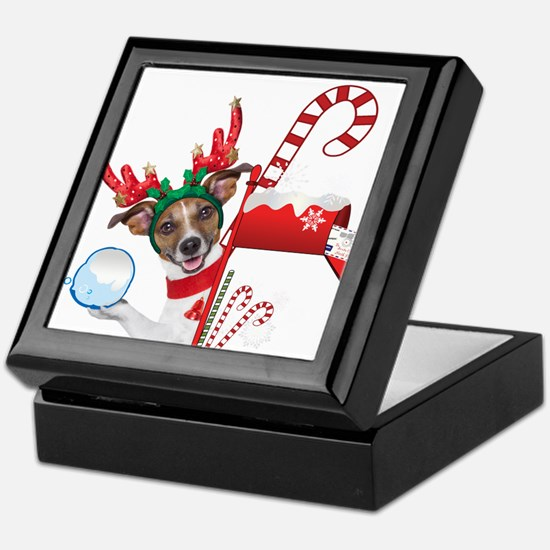 Christmas Funny Dog with Snowball Keepsake Box