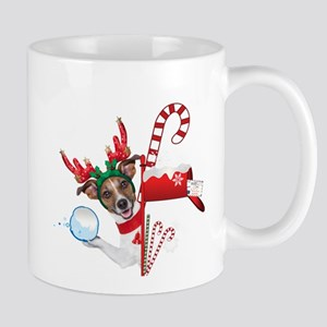 Christmas Funny Dog with Snowball Mugs