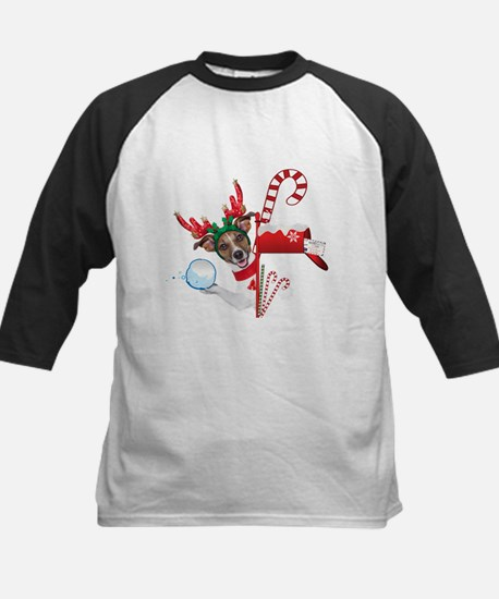 Christmas Funny Dog with Snowball Baseball Jersey