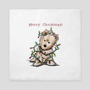 Christmas KiniArt Norwich Terrier Queen Duvet