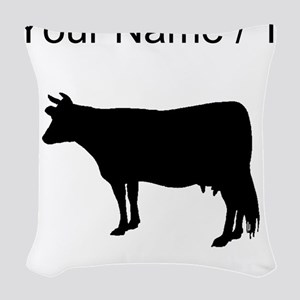 Custom Cow Silhouette Woven Throw Pillow