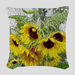 Sunflower Morn Woven Throw Pillow