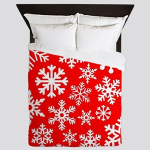 Red & White Snowflake Design Queen Duvet