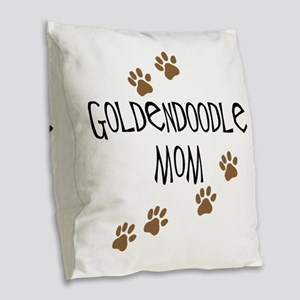 Goldendoodle Mom Burlap Throw Pillow