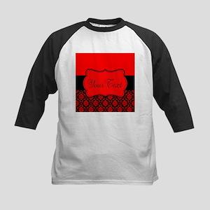 Personalizable Red Black Damask Baseball Jersey