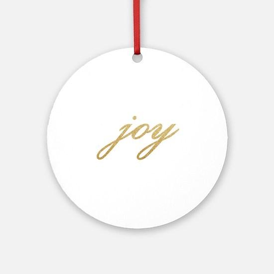 Joy Gold Sparkle Design Ornament (Round)