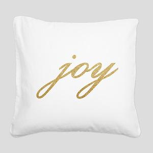 Joy Gold Sparkle Design Square Canvas Pillow
