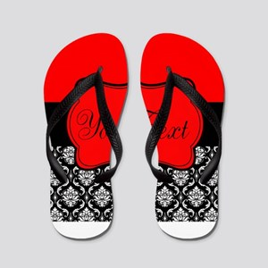 Personalizable Red Black Flip Flops
