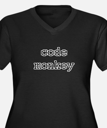 code monkey Women's Plus Size V-Neck Dark T-Shirt