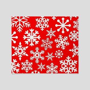 Red & White Snowflake Design Throw Blanket