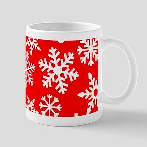 Red & White Snowflake Design Mugs