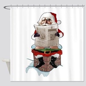 "Santa Claus ""Party Pooper"" Christma Shower Curtain"