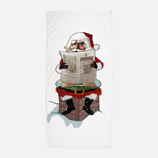 "Santa Claus ""Party Pooper"" Christmas Beach Towel"