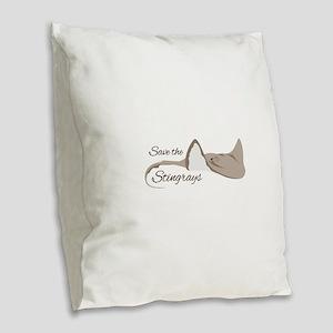Save the Stingrays Burlap Throw Pillow