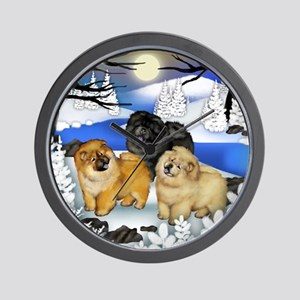 Chow Chow Dogs Frozen River Wall Clock