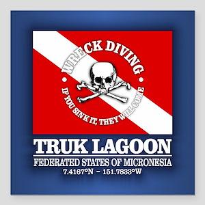 "Truk Lagoon Square Car Magnet 3"" x 3"""