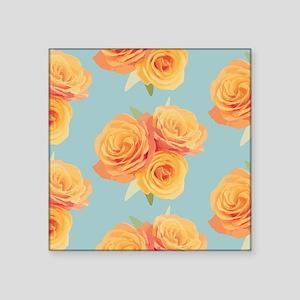 "Orange roses on blue Square Sticker 3"" x 3"""