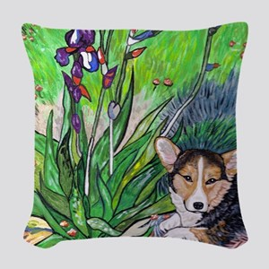 A corgi rets in Spring Woven Throw Pillow