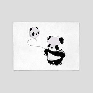 Panda With Balloon 5'x7'Area Rug